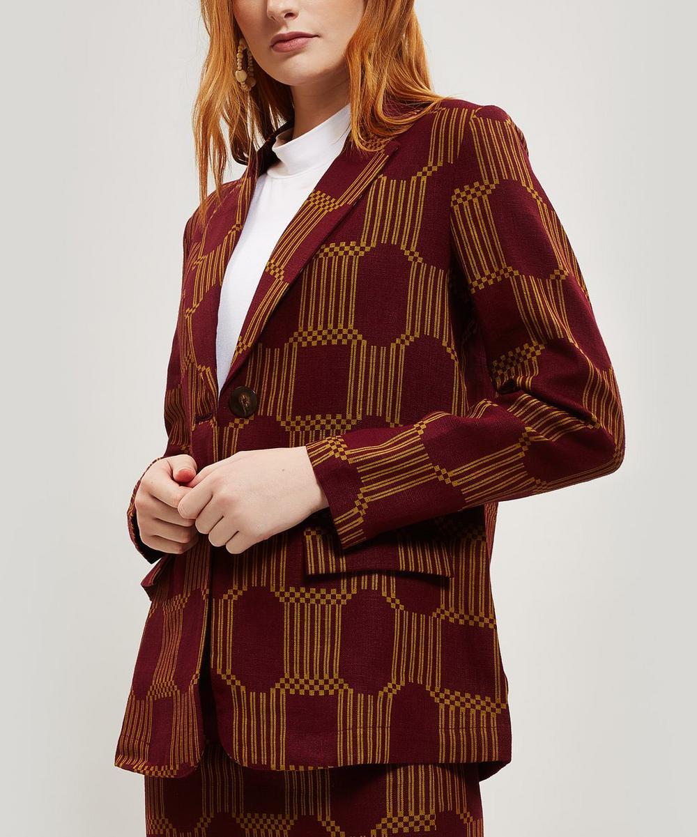 Alora Geo Print Linen Blazer Jacket