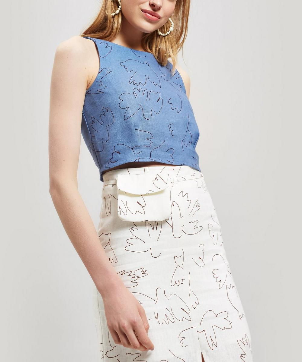 Colomba Paloma Bird Print Sleeveless Linen Top