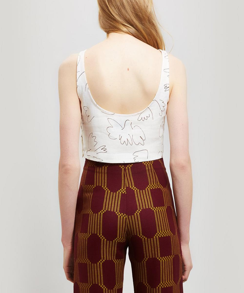Colomba Paloma Bird Print Sleeveless Linen Top