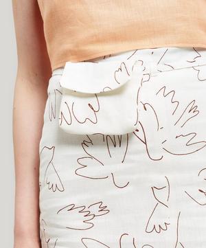 Gania Paloma Bird Print Linen Midi-Skirt