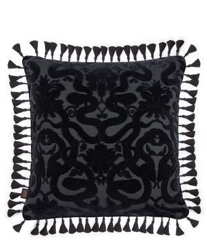 Large Tasselled Anaconda Velvet Jacquard Cushion