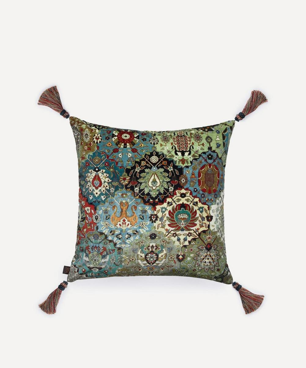 Large Tasselled Caspar Velvet Cushion