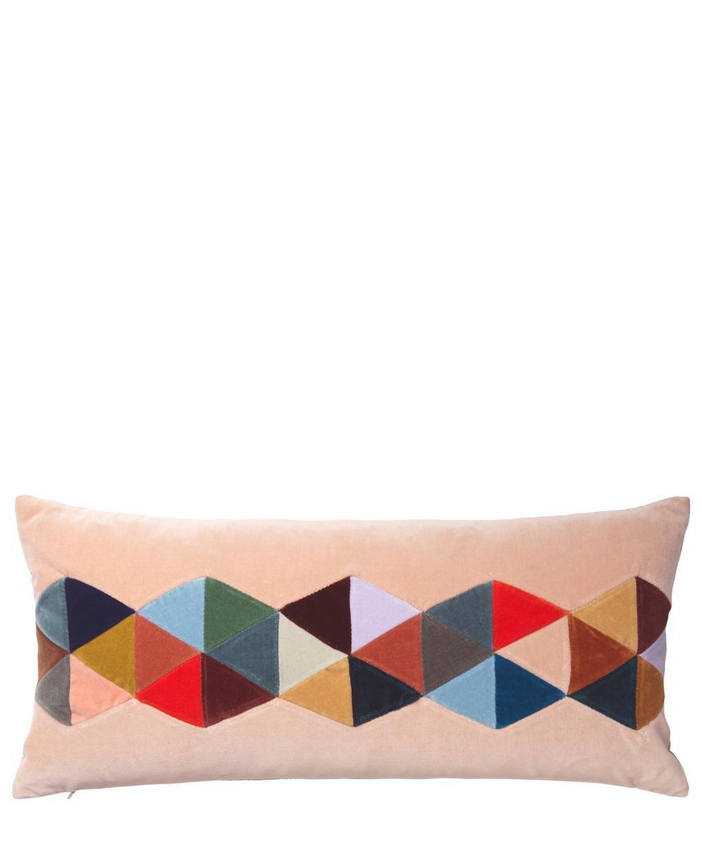 Lou Rectangular Multicoloured Cotton Velvet Cushion