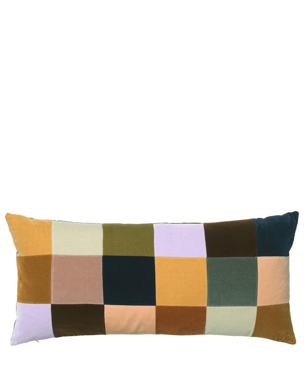 Poppy Check Rectangular Cotton Velvet Cushion