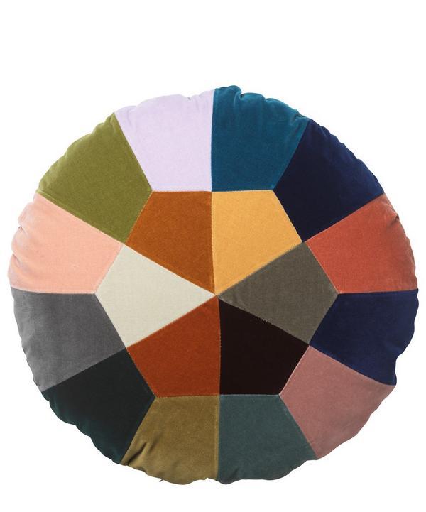 Iris Spring Round Cotton Velvet Cushion