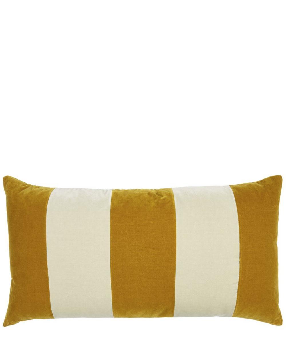 Stripe Cotton Velvet Rectangular Cushion