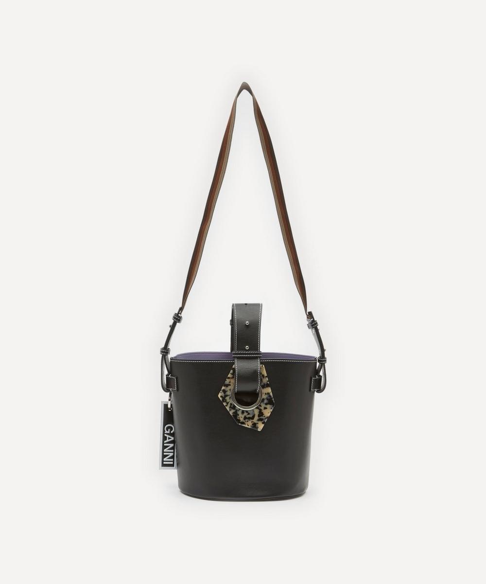 Ganni Leather Bucket Bag In Black