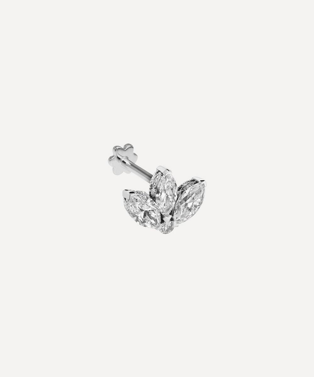 Maria Tash - 18ct 3mm Mini Diamond Engraved Lotus Single Threaded Stud Earring