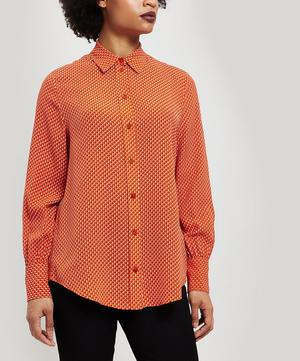 Klein Micro Floral Print Silk Shirt