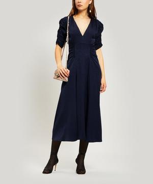 Harlow Ruched Silk-Blend Midi-Dress