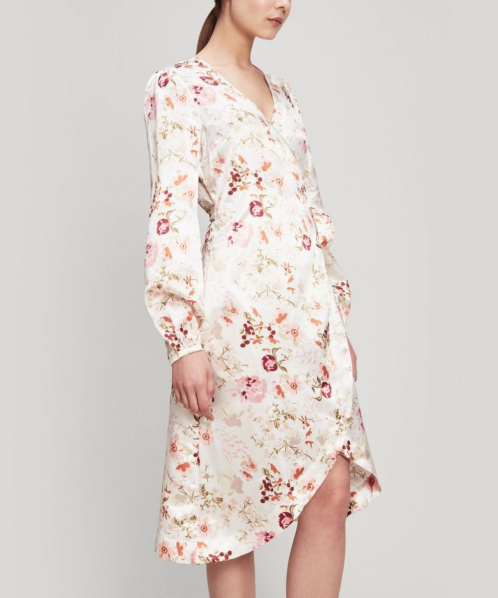 Floral Satin Wrap-Dress