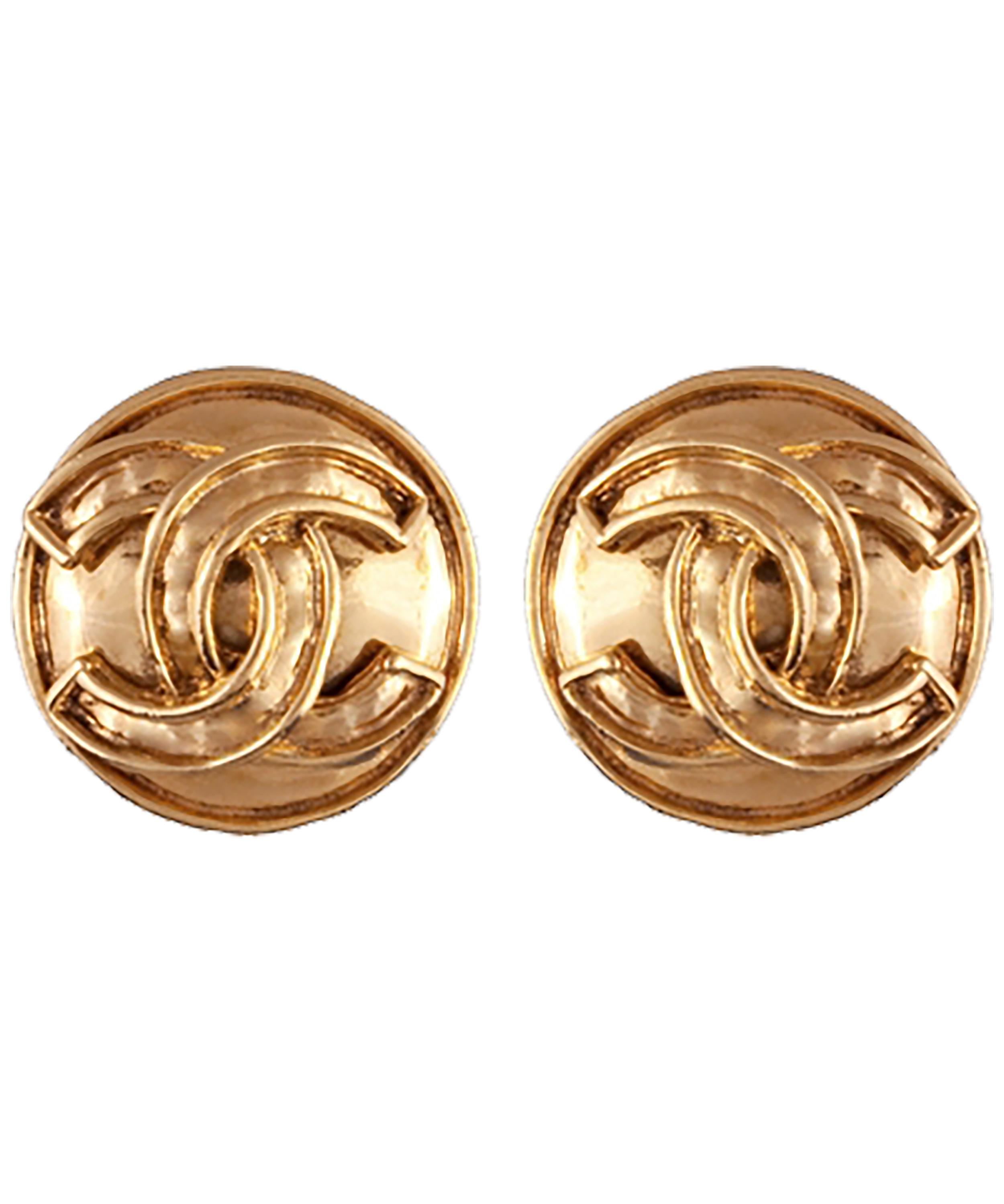d37d19ada8927 Gold-Tone Chanel Logo Round Clip-On Earrings