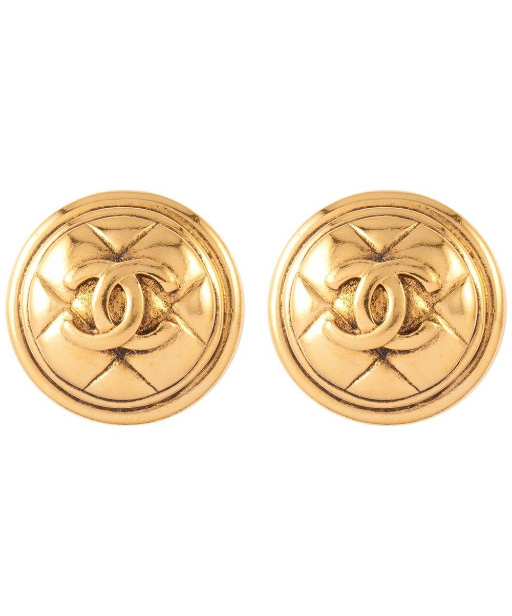 Gold-Tone Chanel Logo Round Clip-On Earrings