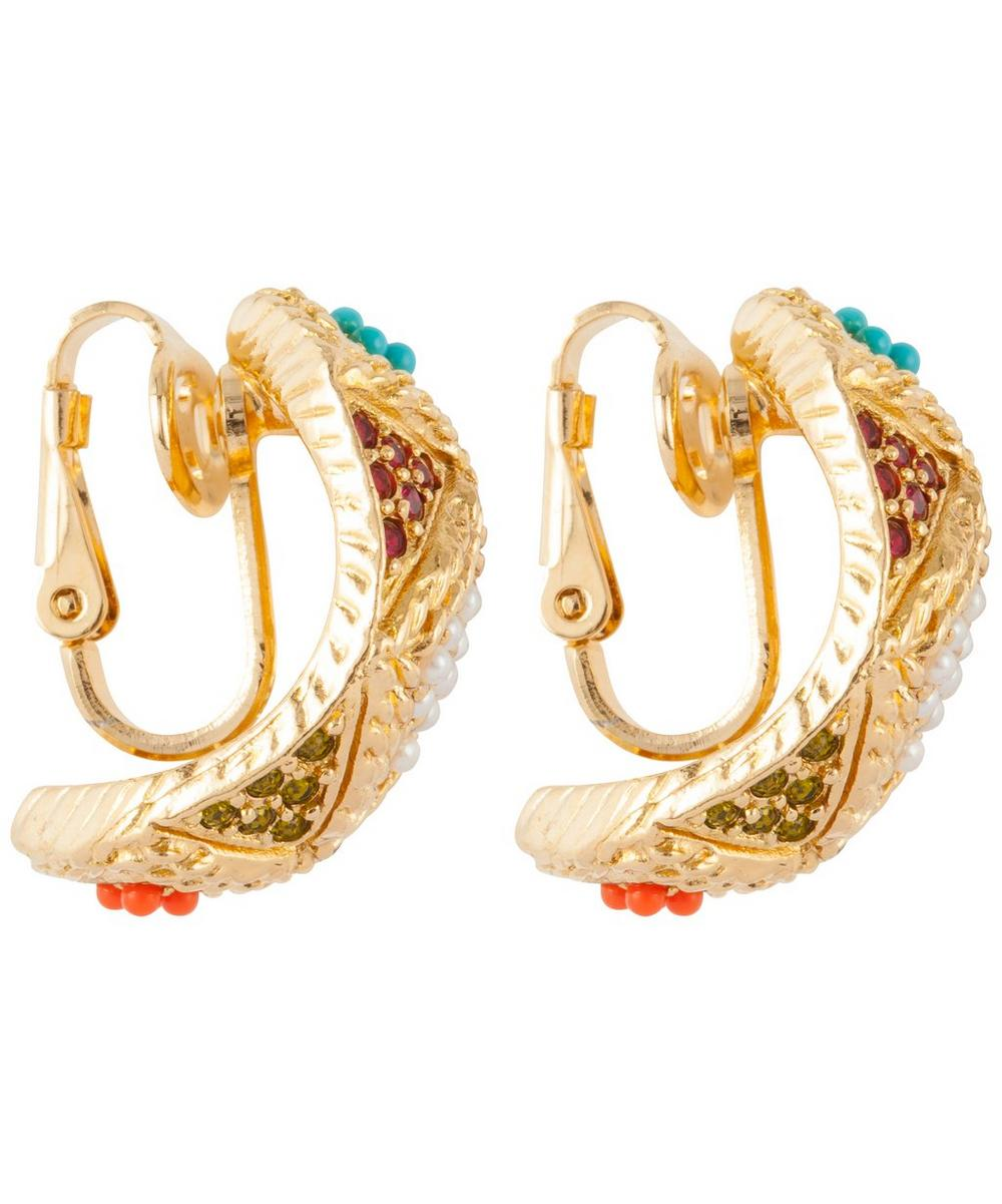 Gold-Plated D'Orlan Multi Stone Demi-Hoop Clip-On Earrings