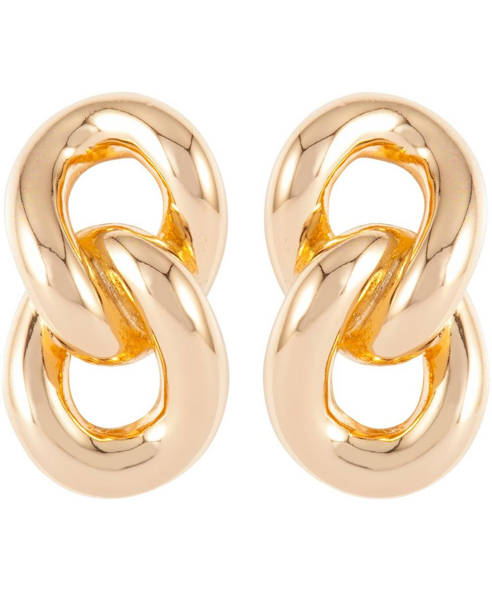 Gold-Plated Dior Interlinking Clip-On Earrings