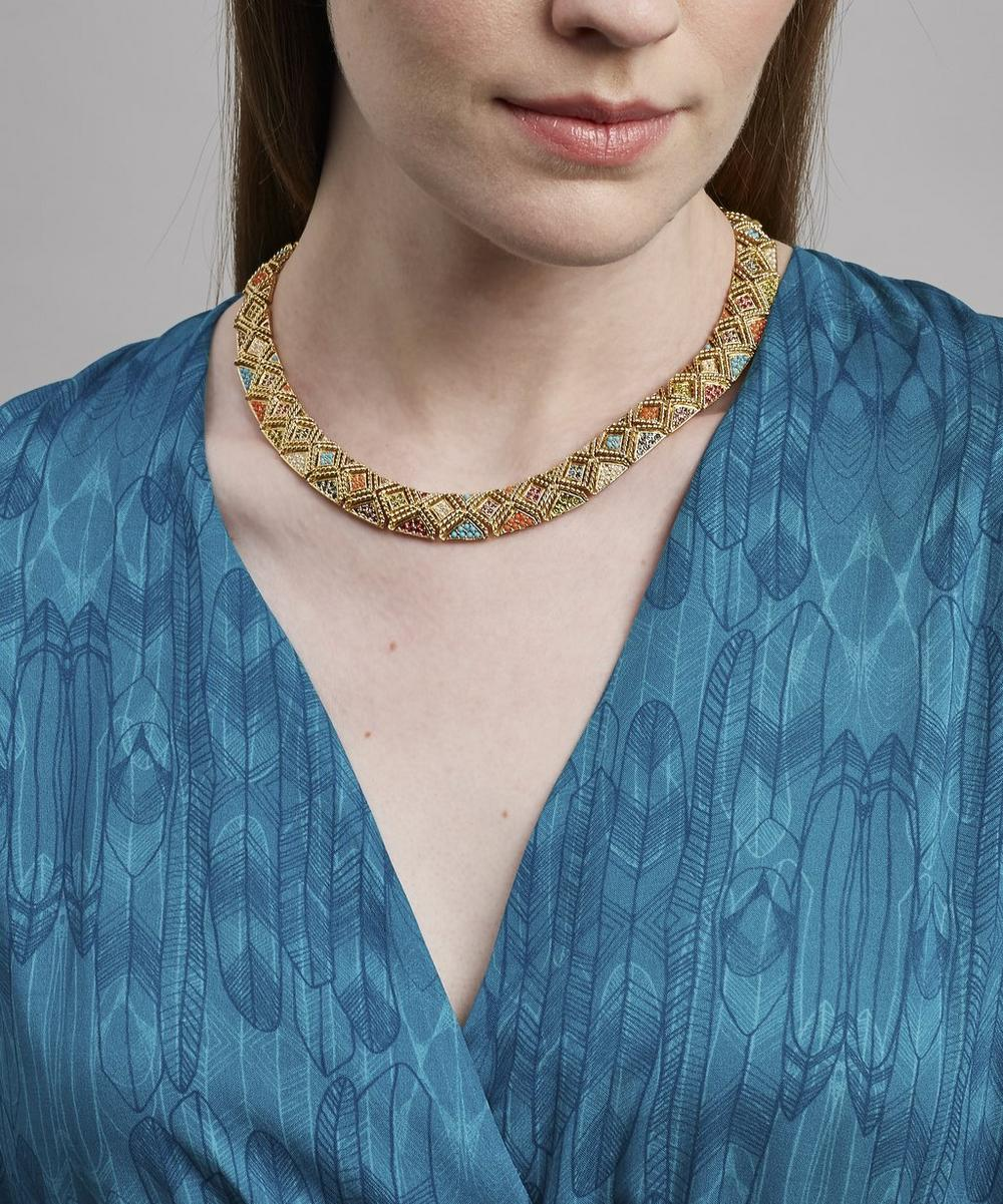 Gold-Plated D'Orlan Multi Stone Collar Necklace