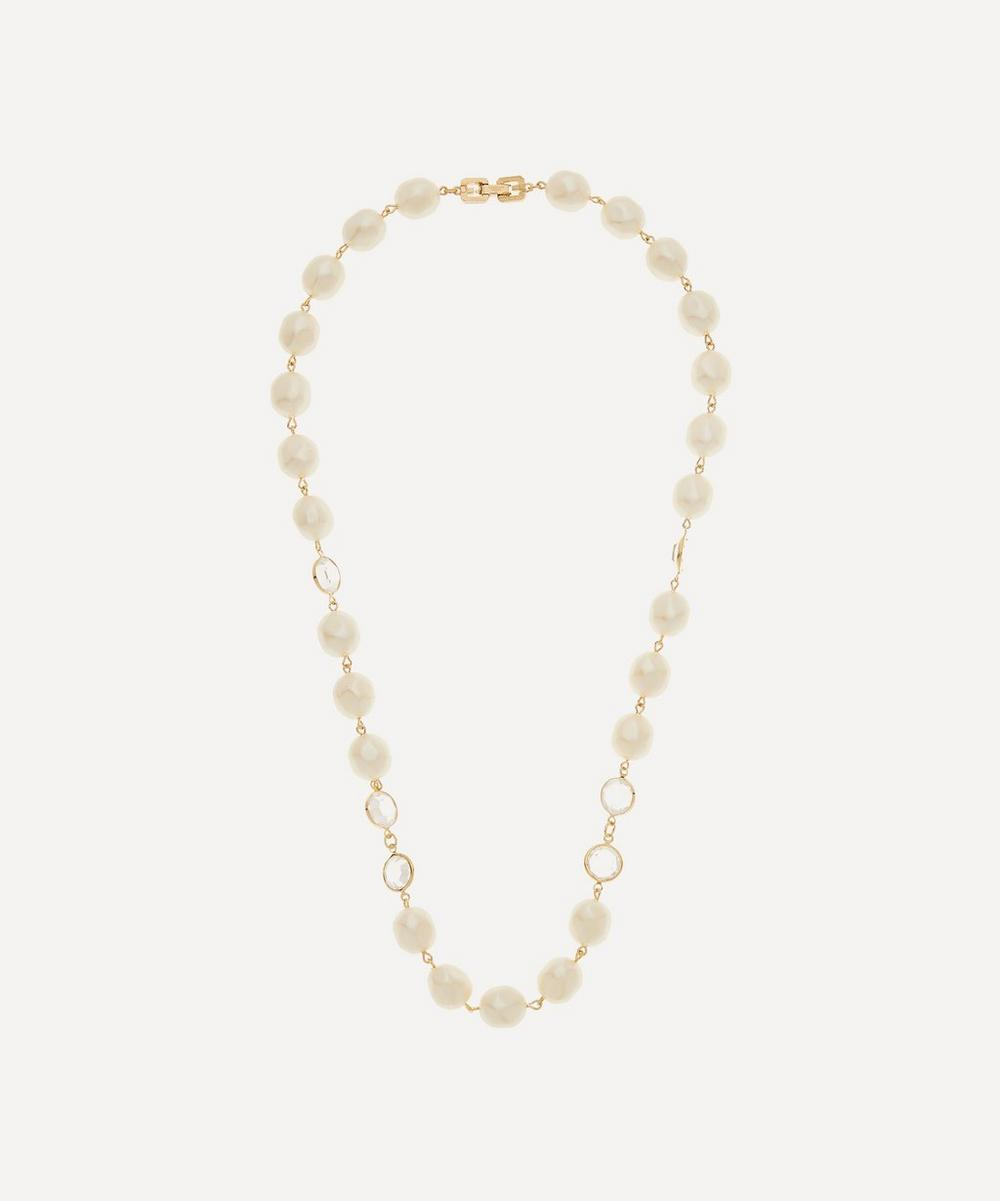 Susan Caplan Vintage Gold-plated Givenchy Crystal And Faux Pearl Necklace In White