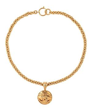 Gold-Tone Chanel Logo Pendant Necklace