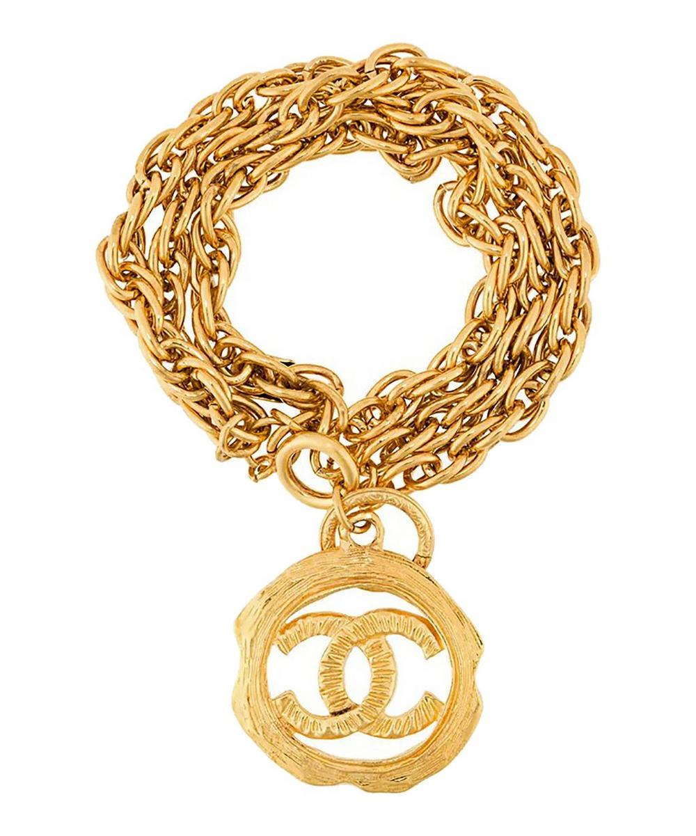 Gold-Tone Chanel Logo Charm Bracelet