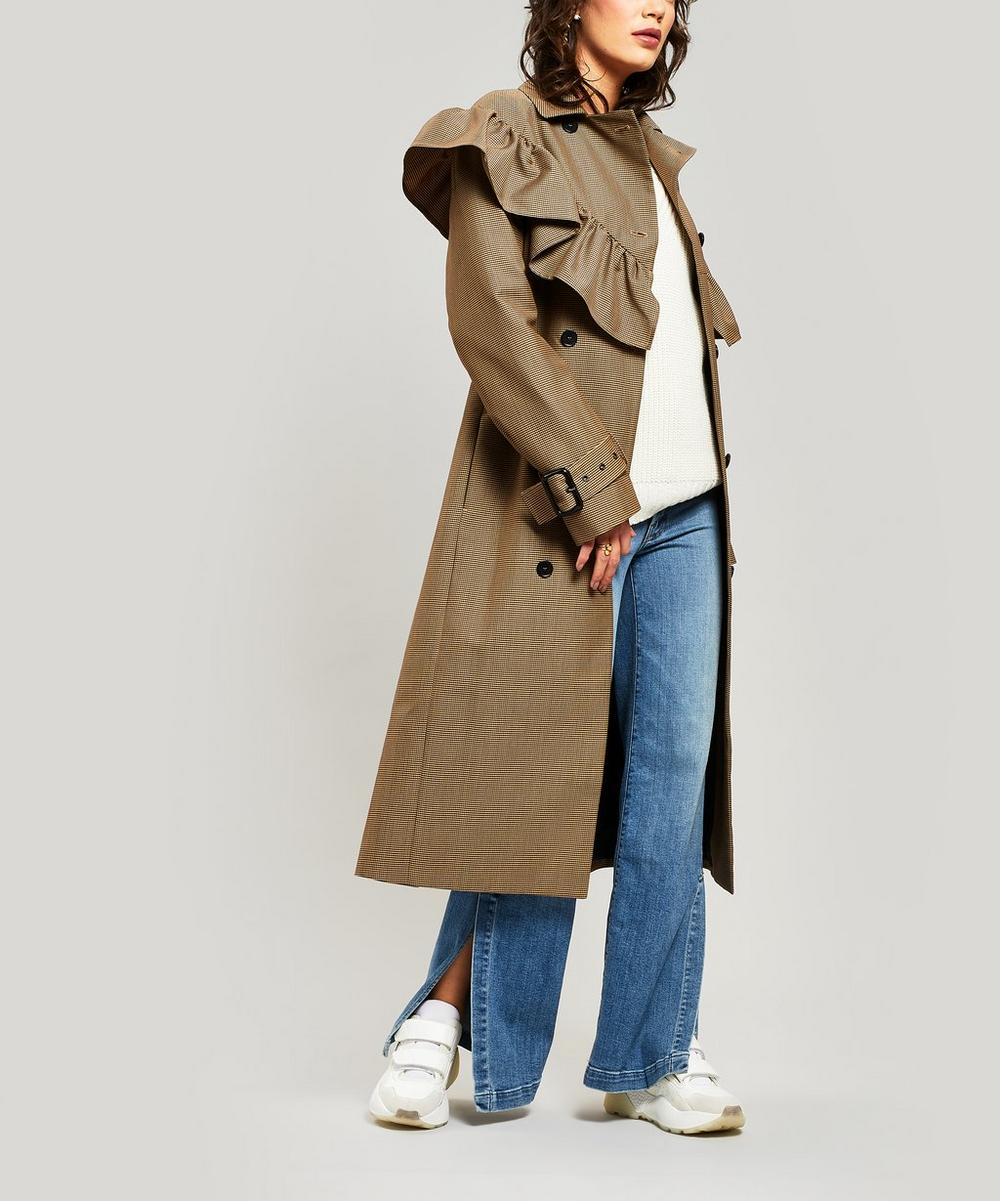 Msgm Houndstooth Ruffle-Trim Wool-Blend Trench Coat In Cream