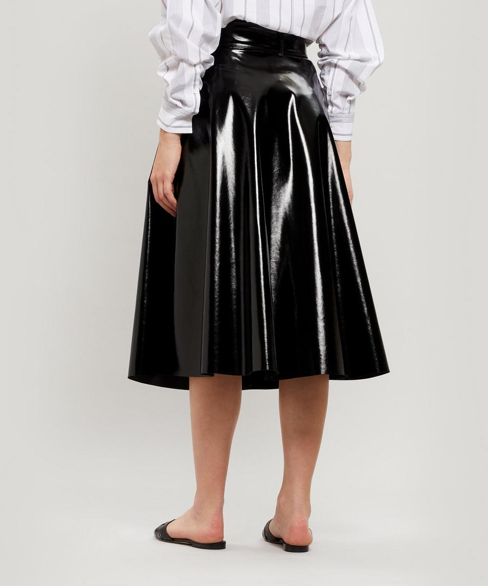 Faux-Patent A-Line Midi Skirt