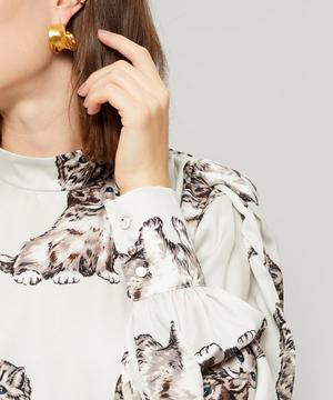 Kitten Print Faille Blouse