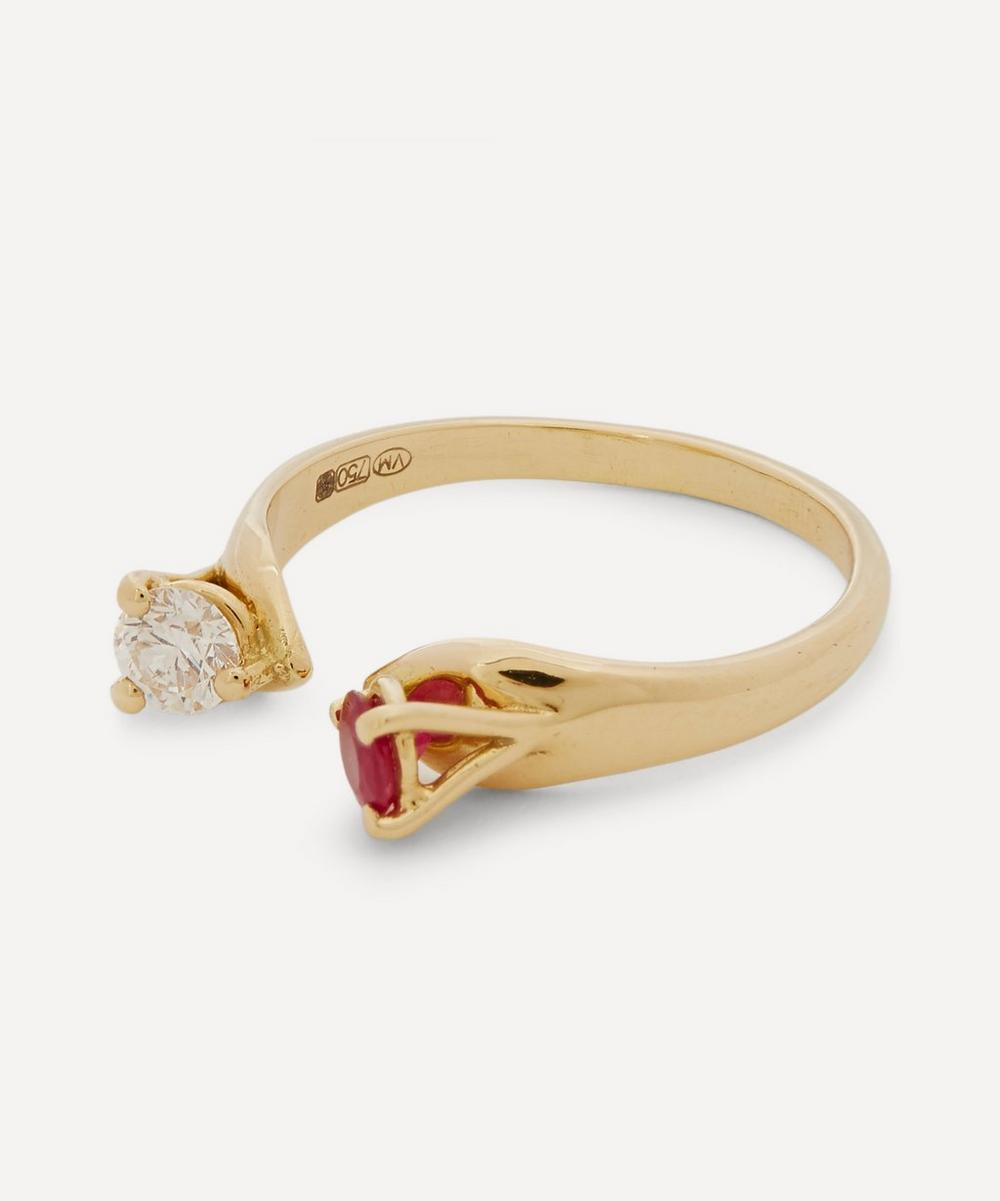 Gold Mirror Ruby and Diamond Ring