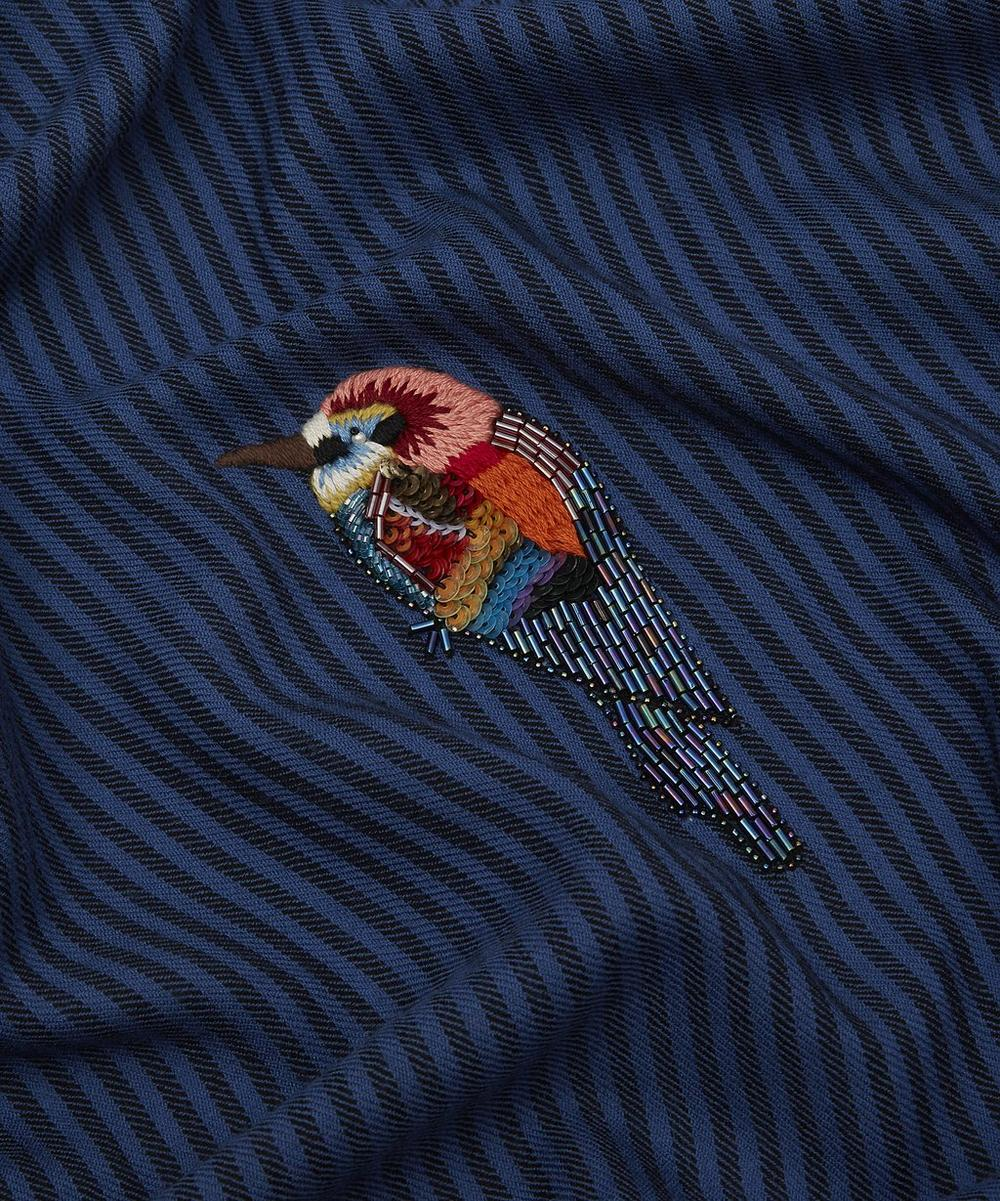 Embroidered Birds Striped Merino Wool Scarf