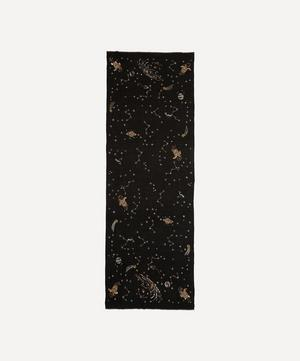 Embroidered Midnight Fantasy Cashmere Scarf