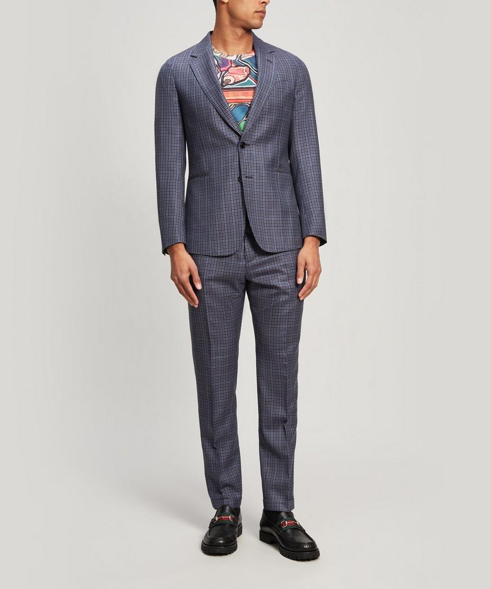 Micro Check Wool and Silk-Blend Blazer