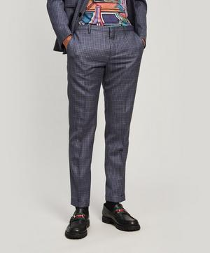 Checked Wool-Blend Tailored Trousers