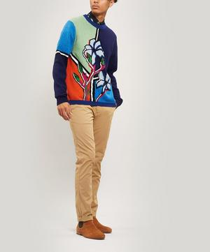 Merino Wool Sweater with Artist Stripe Collar