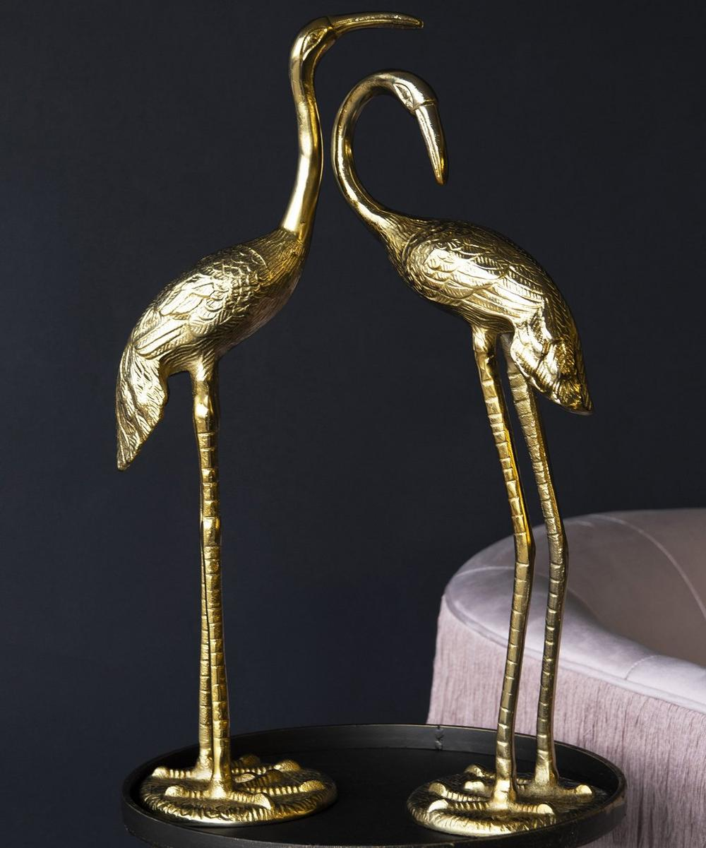 Gold-Tone Stork Decorative Ornaments Set of Two