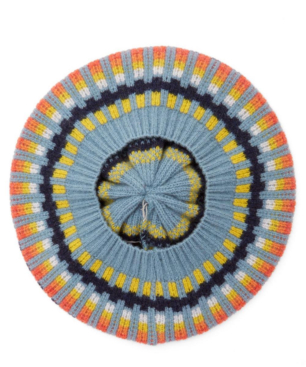 Block Stripe Pom Pom Wool Beret