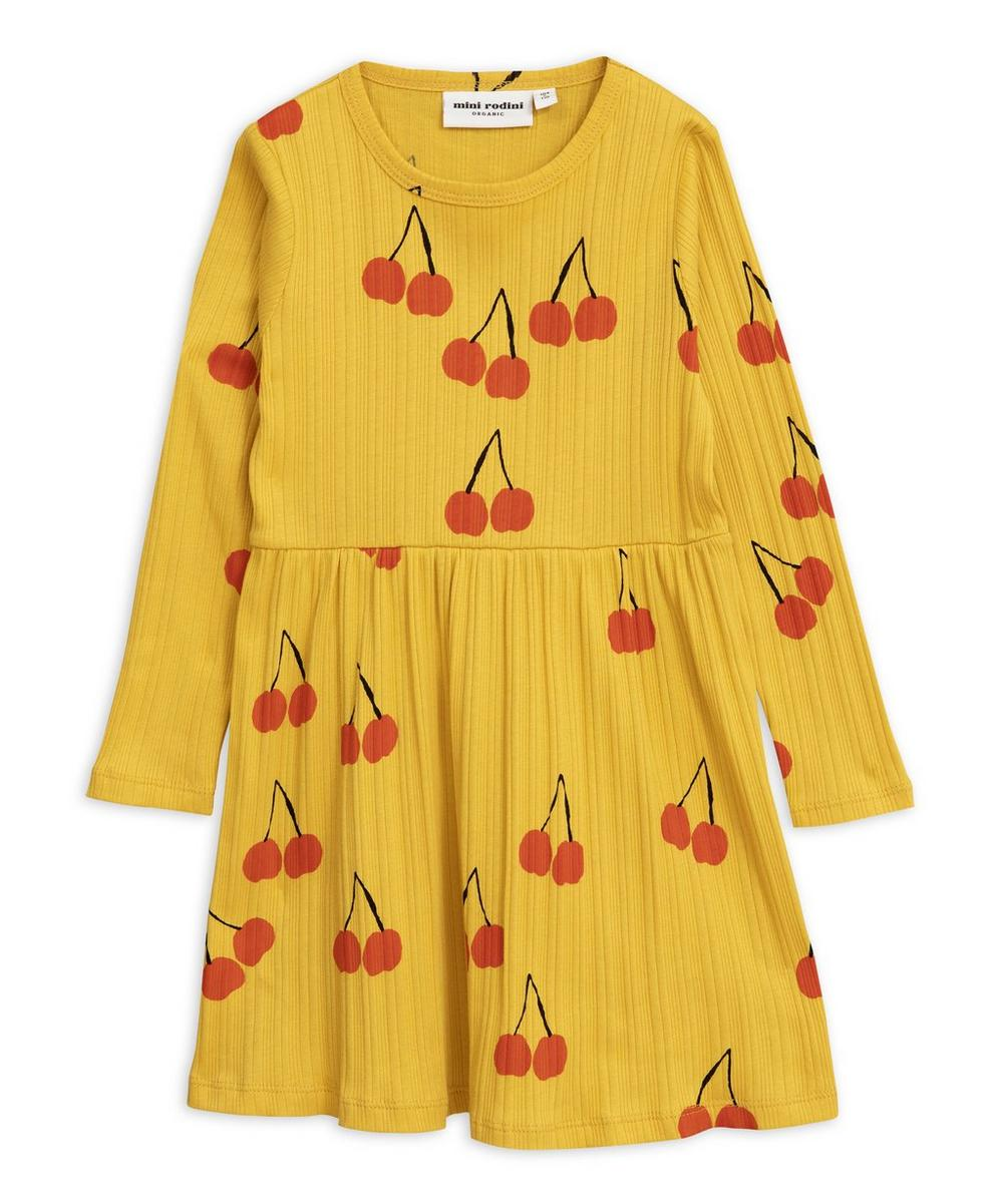 Cherry Ribbed Long-Sleeve Dress 2-8 Years