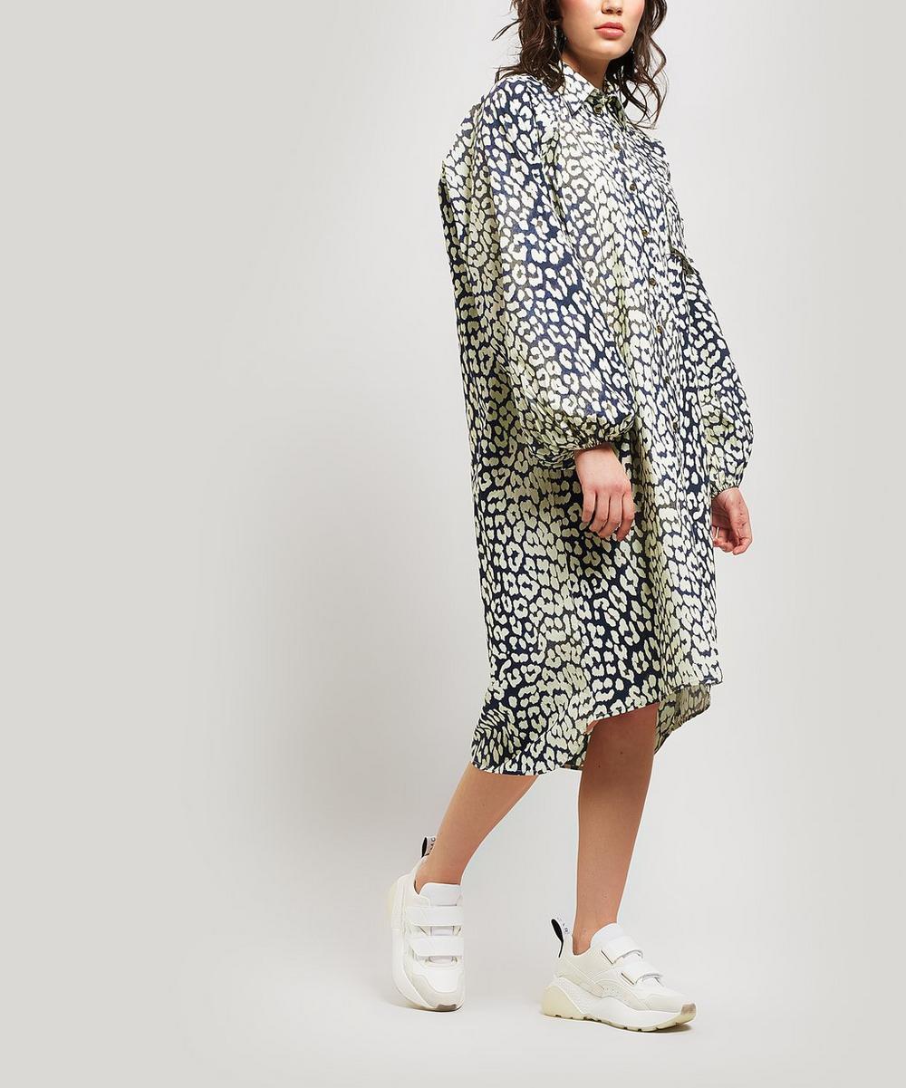 Leopard Print Cotton Bell-Sleeve Shirt-Dress