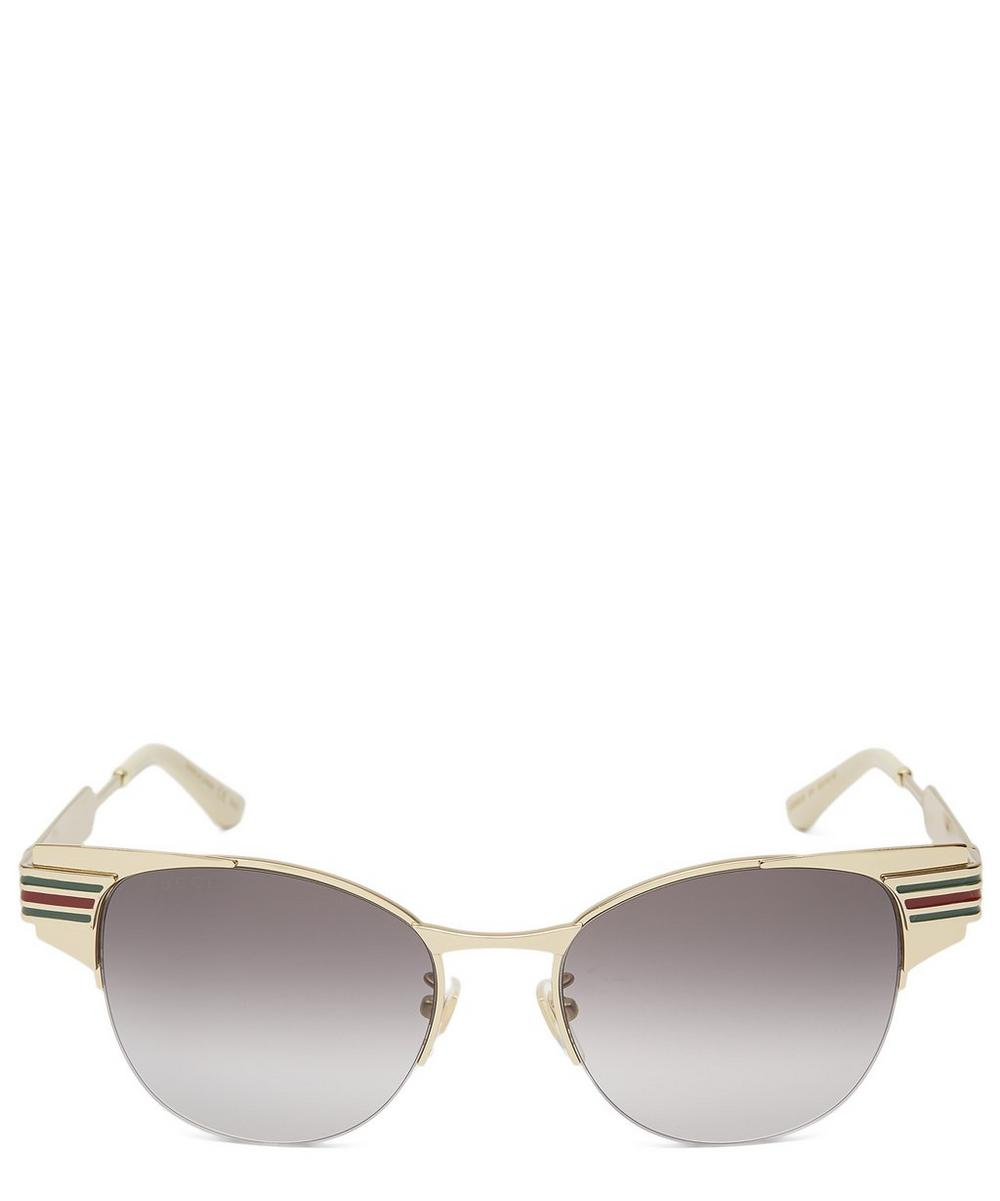 Gucci Metal Clubmaster Round-Frame Sunglasses In Gold