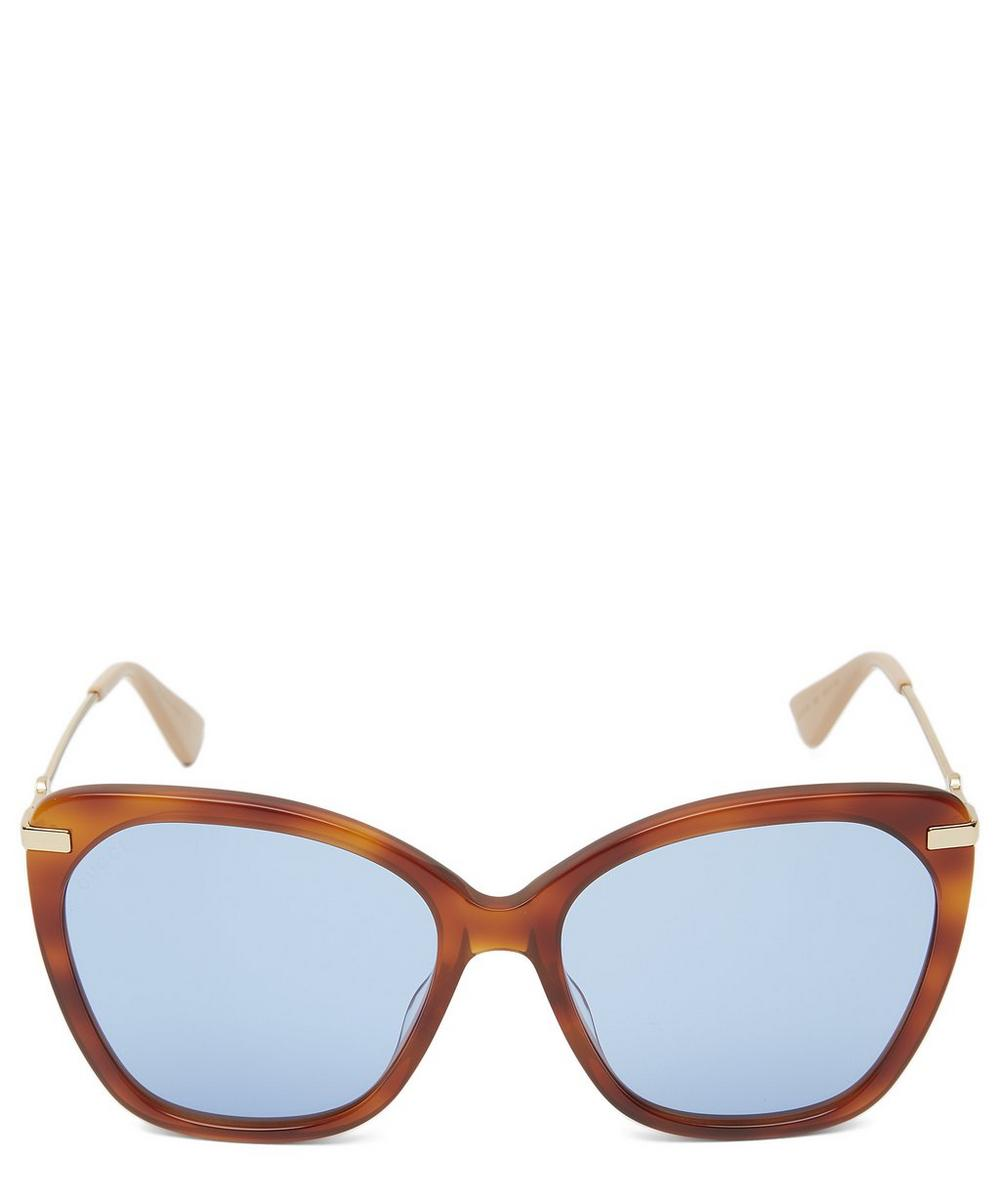Gucci Oversized Butterfly Square Sunglasses In Brown