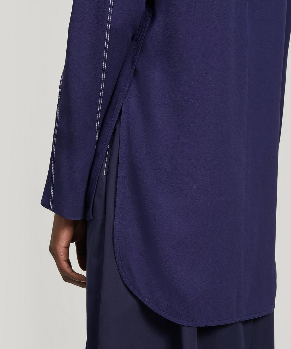 Long Crepe Envers Satin Shirt