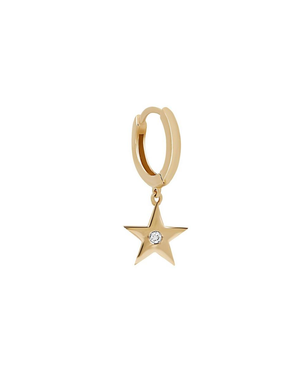 Gold Diamond Star Hoop Earring