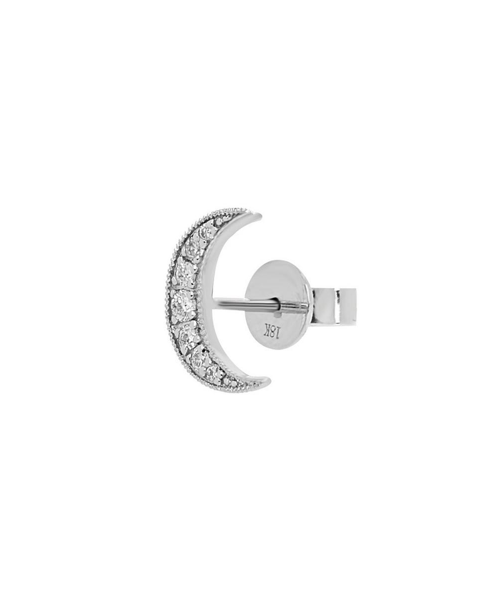 White Gold Mini White Diamond Star Single Stud Earring