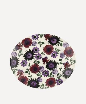 Dark Dahlias Medium Oval Platter