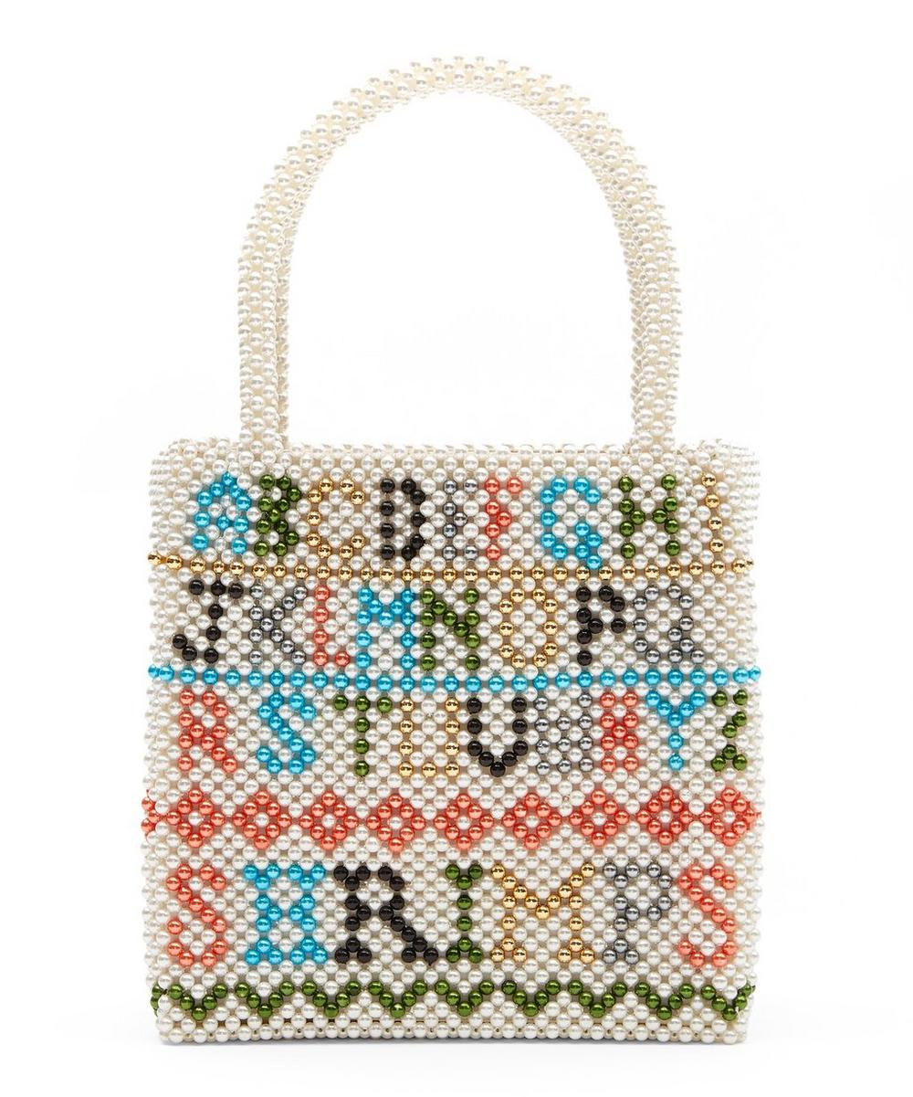 Hera Alphabet Faux Pearl Beaded Handbag