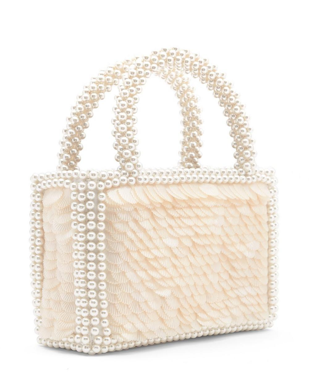 Pax Shell Sequin and Faux Pearl Beaded Handbag