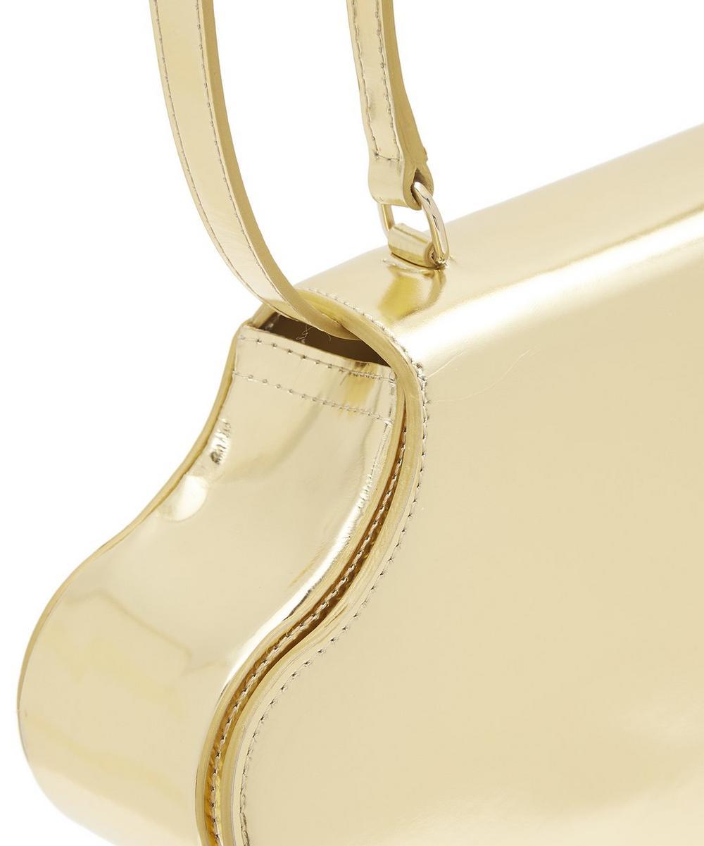Flower Bean Metallic Leather Handbag