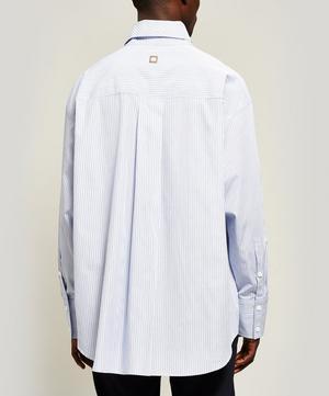 Cotton Fold Collar Striped Shirt