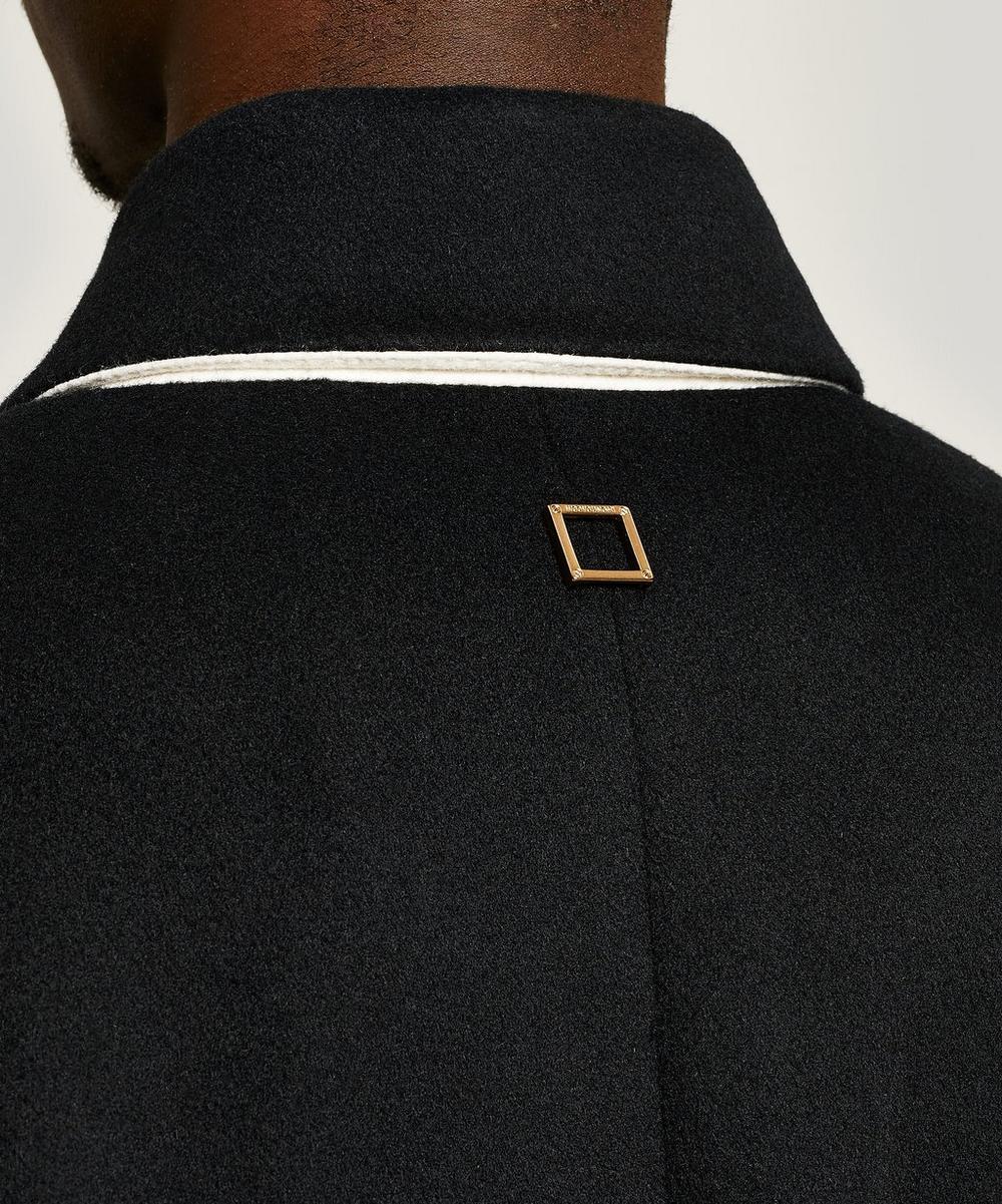 Collarless Asymmetric Wool-Blend Blazer