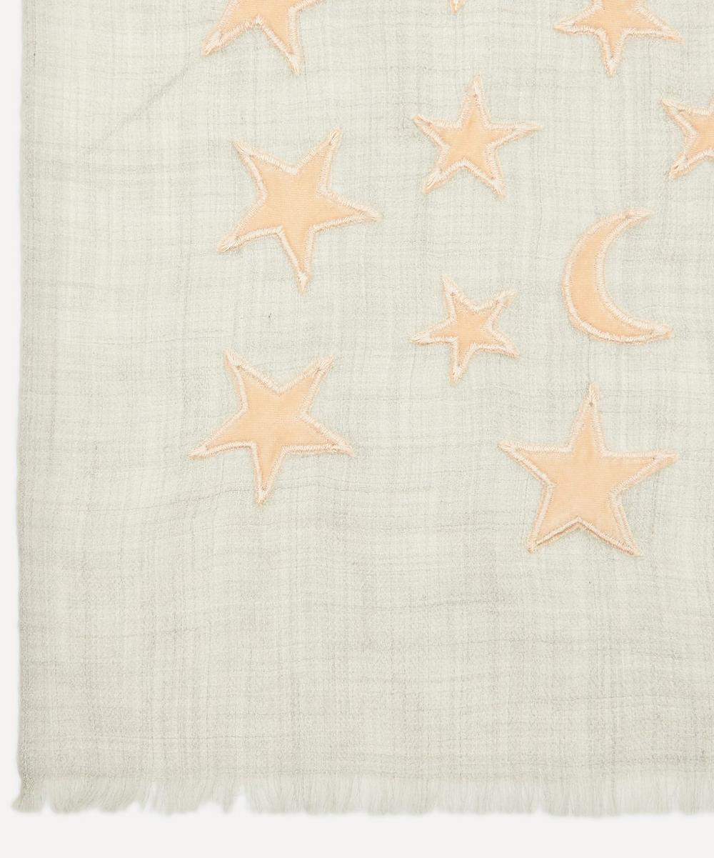 Appliqué Velvet Moon and Star Wool-Blend Scarf