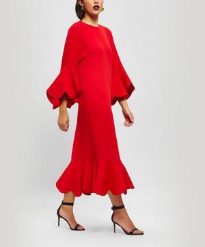 Peplum Hem Silk Dress