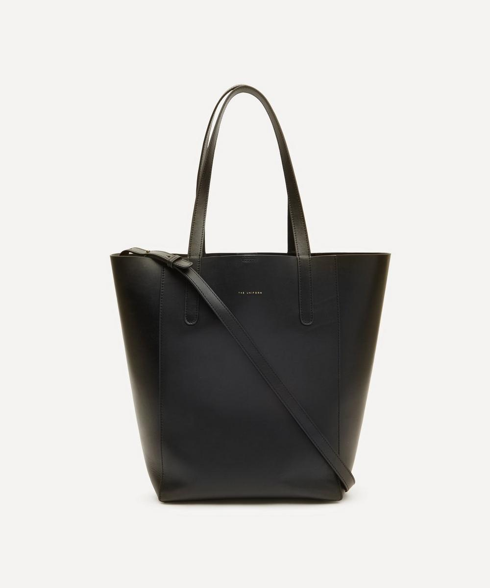 The Uniform Large Leather Bucket Bag In Black